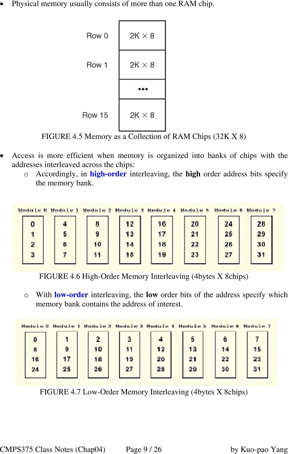 the chips: o Accordingly, in high-order interleaving, the high order address bits specify the memory bank. FIGURE 4.