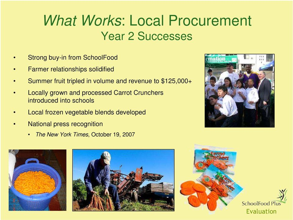 Locally grown and processed Carrot Crunchers introduced into schools Local frozen