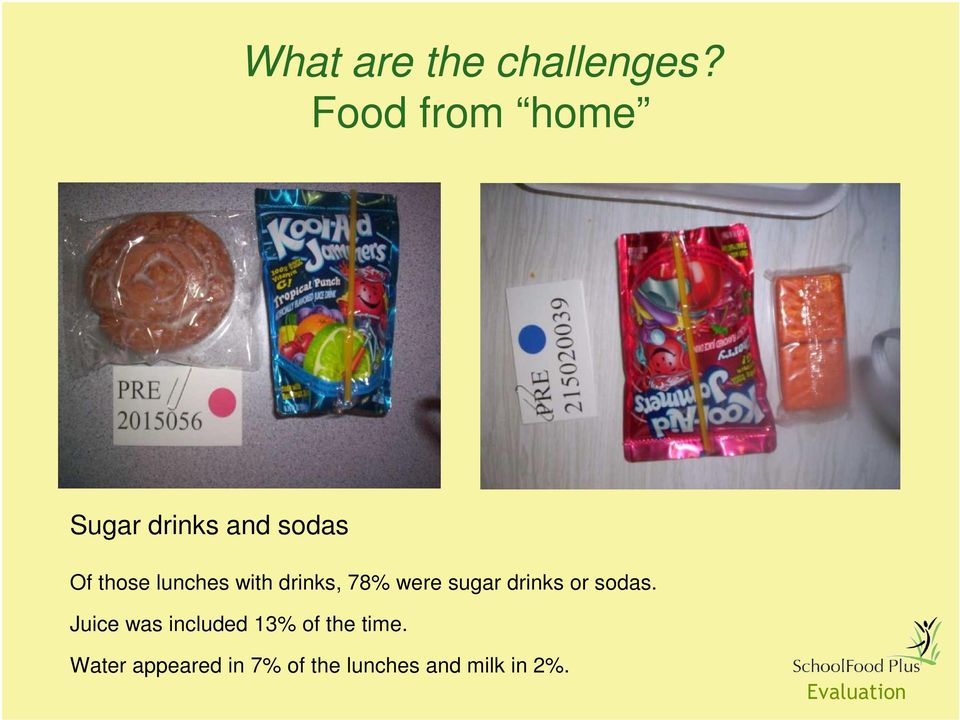 lunches with drinks, 78% were sugar drinks or sodas.