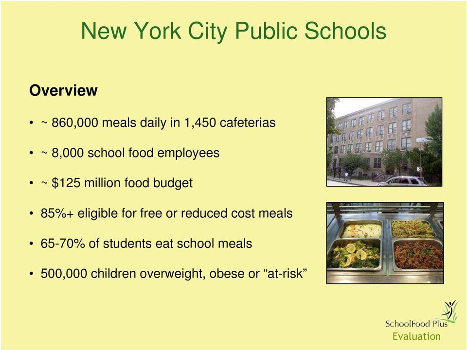 food budget 85%+ eligible for free or reduced cost meals 65-70%