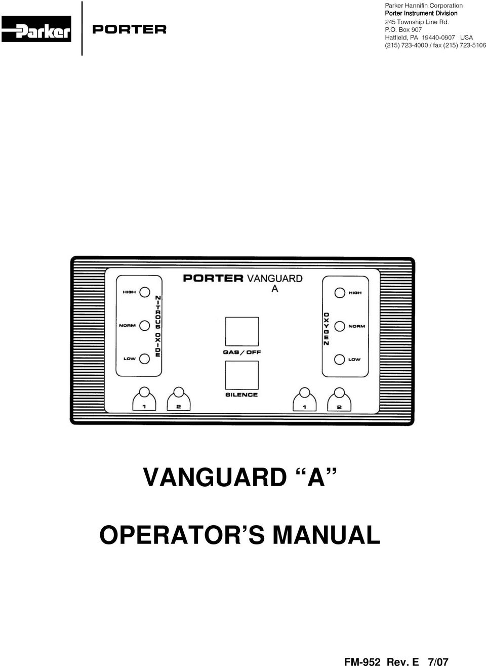 Vanguard A Operator S Manual Porter Fm 952 Rev E 7 07 Pdf Key Wiring Diagram Box 907 Hatfield Pa 19440 0907 Usa 215 723 4000