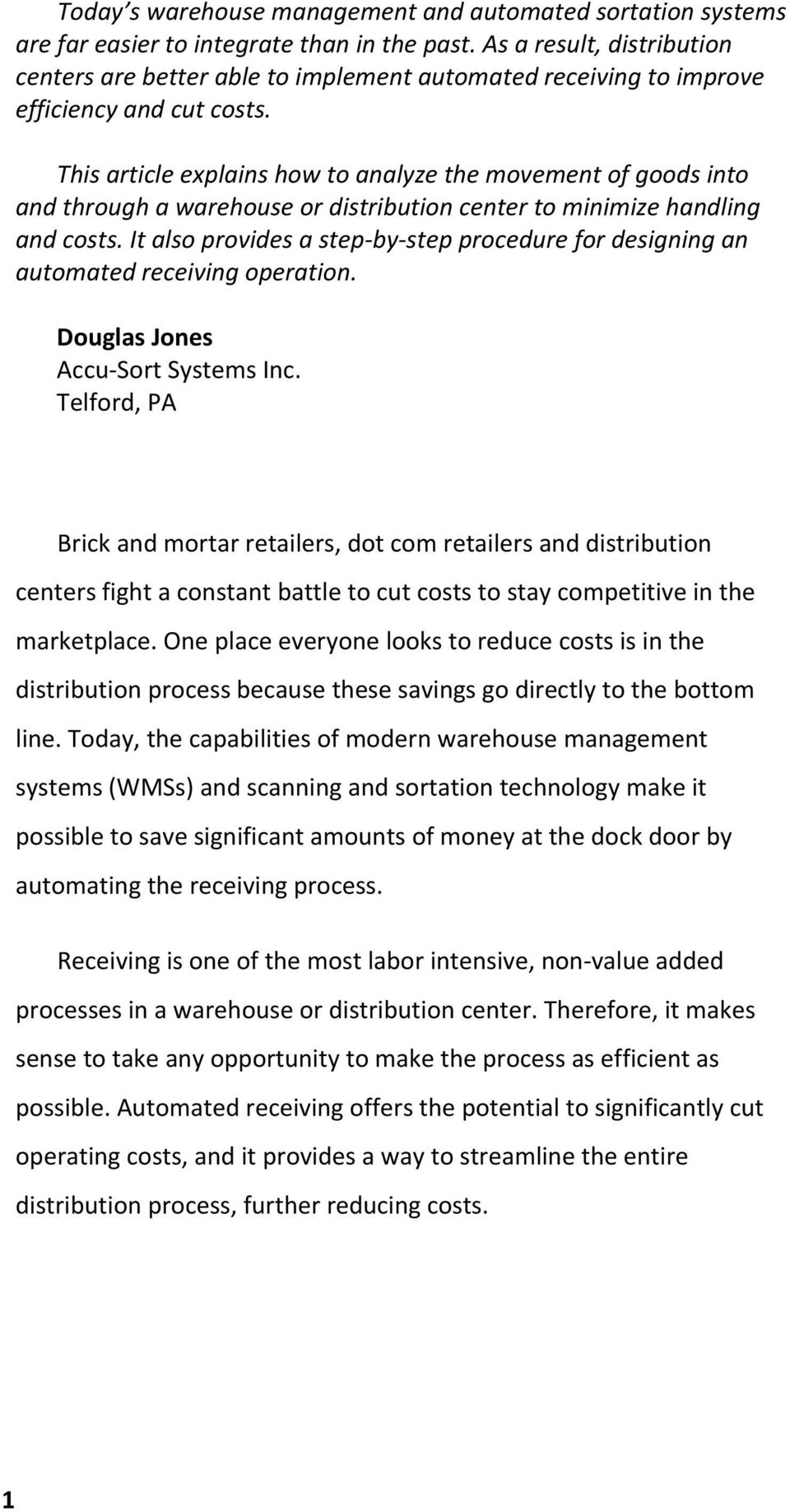 Automated Receiving  Saving Money at the Dock Door  Page 8 - PDF