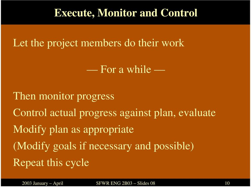 monitor progress Control actual progress against plan, evaluate
