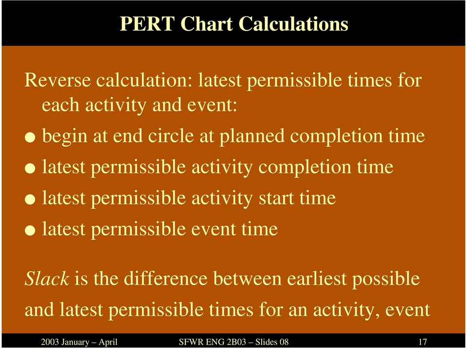 permissible activity completion time latest permissible activity start time latest permissible event