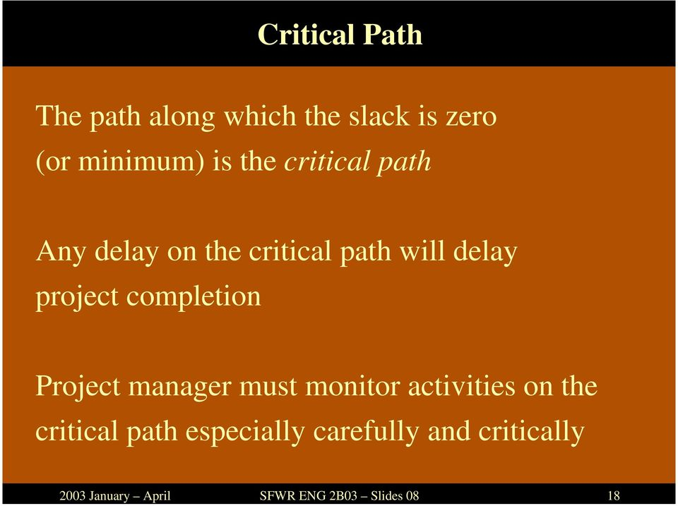 delay on the critical path will delay project completion Project manager