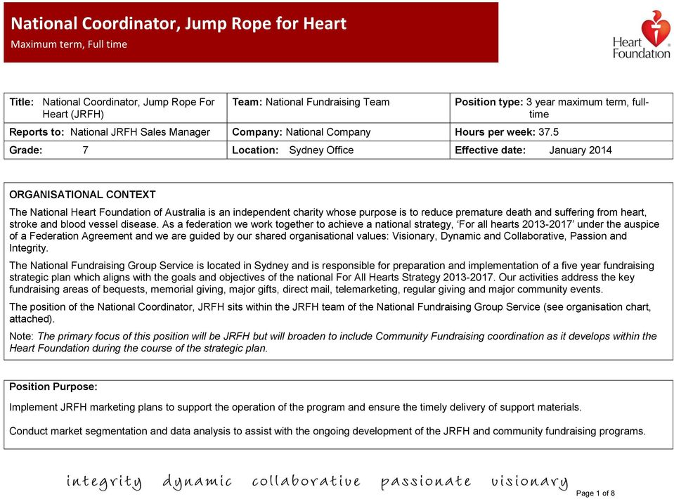 5 Grade: 7 Location: Sydney Office Effective date: January 2014 ORGANISATIONAL CONTEXT The National Heart Foundation of Australia is an independent charity whose purpose is to reduce premature death