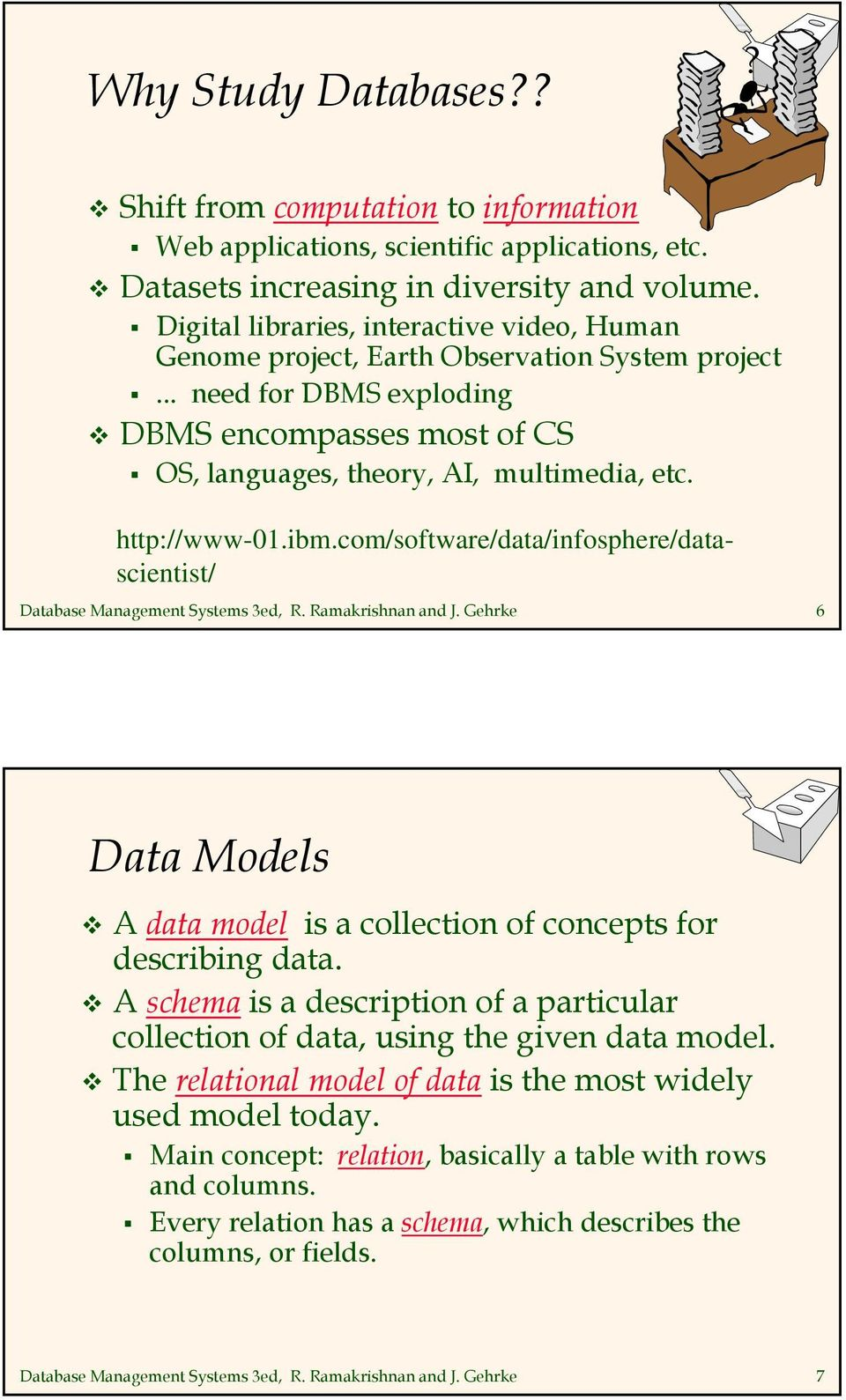 http://www-01.ibm.com/software/data/infosphere/datascientist/ Database Management Systems 3ed, R. Ramakrishnan and J. Gehrke 6 Data Models A data model is a collection of concepts for describing data.