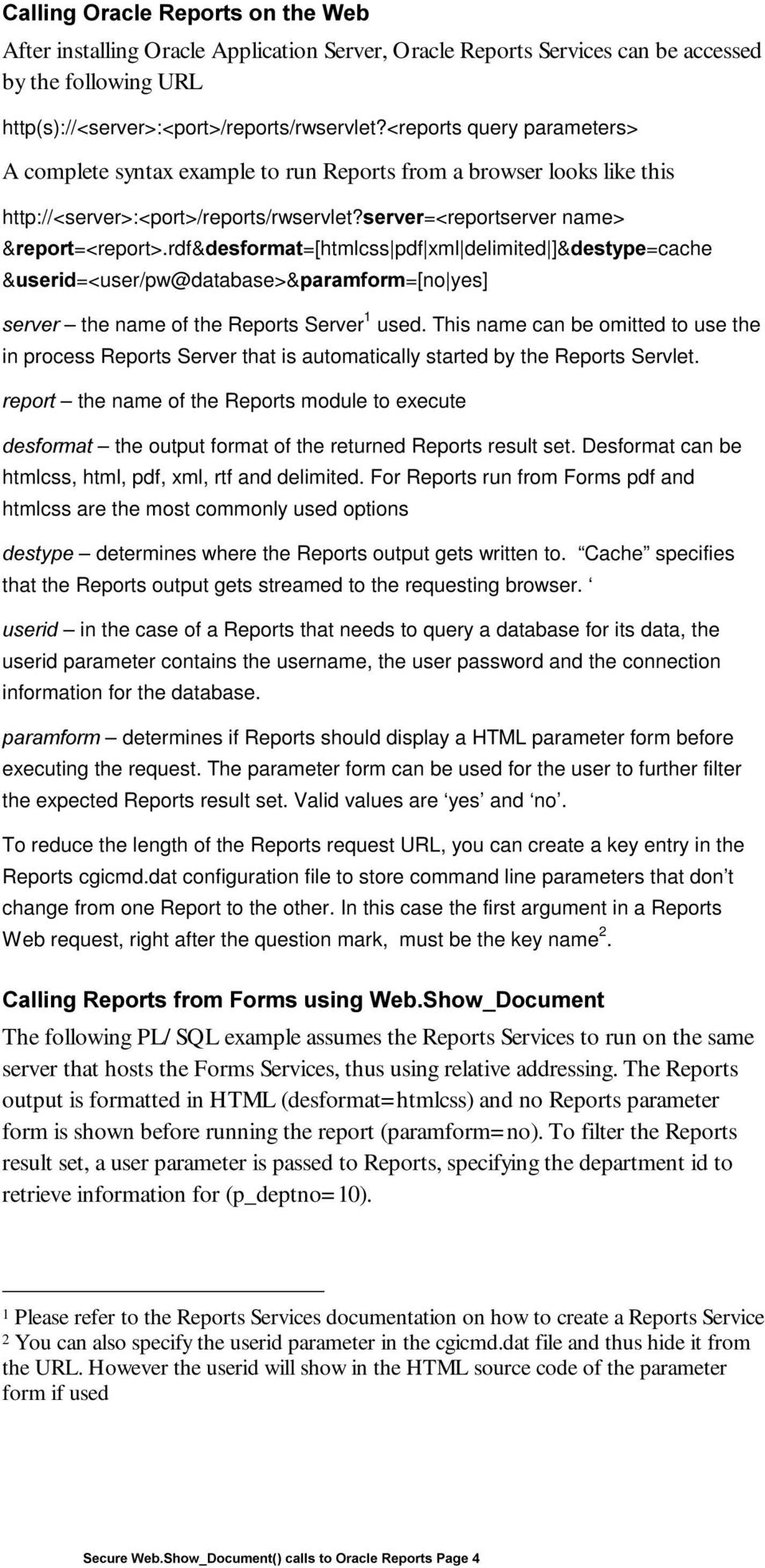 Oracle Forms Services Secure Web Show_Document() calls to