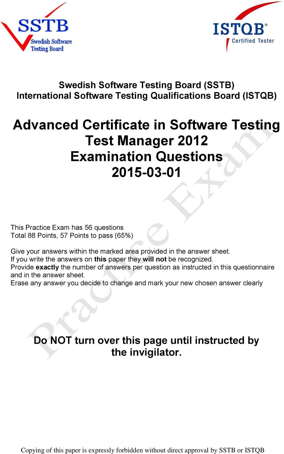 Advanced Certificate in Software Testing Test Manager 2012