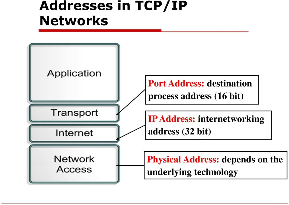 Address: internetworking address (32 bit)