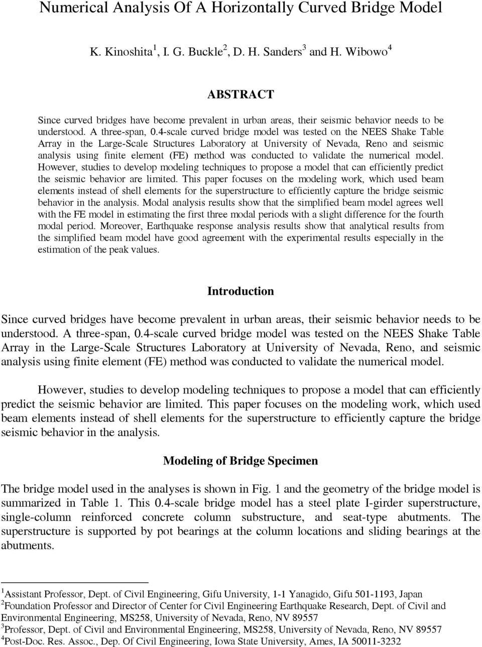 NUMERICAL ANALYSIS OF A HORIZONTALLY CURVED BRIDGE MODEL - PDF