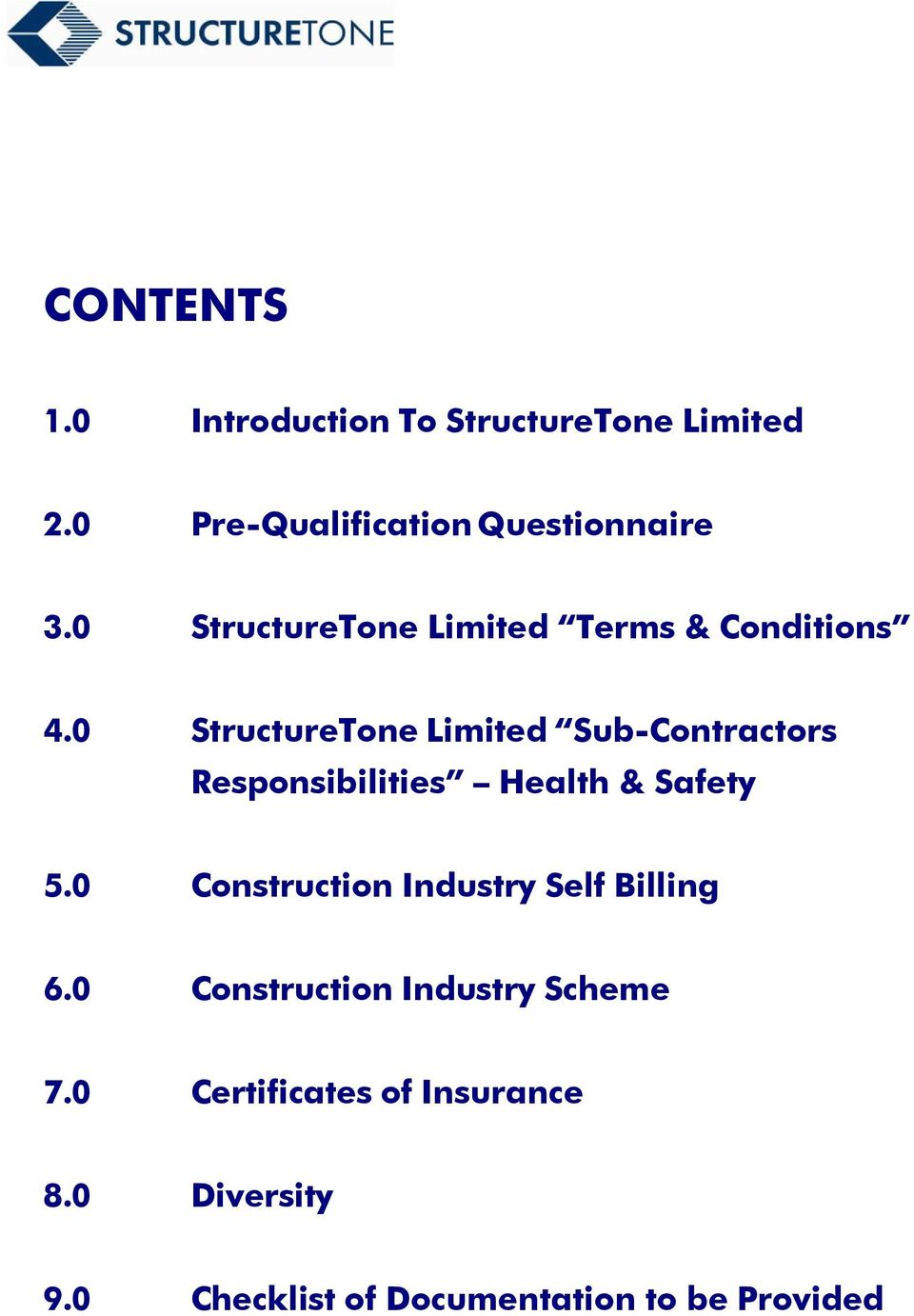 0 StructureTone Limited Sub-Contractors Responsibilities Health & Safety 5.
