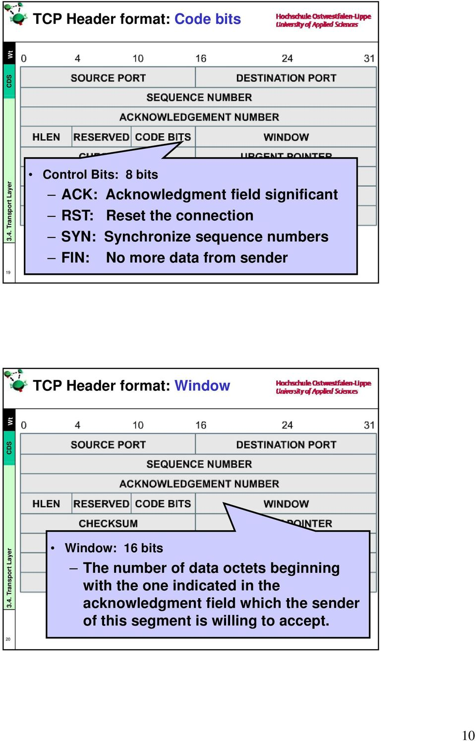 TCP Header format: Window Window: 16 bits The number of data octets beginning with the one