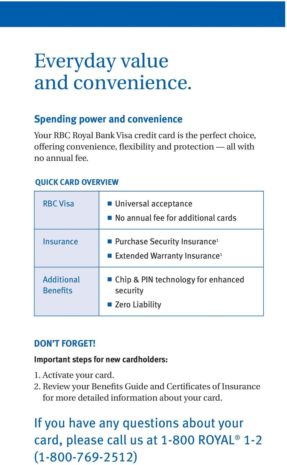 QUICK CARD OVERVIEW RBC Visa Uiversal acceptace No aual fee for additioal cards Isurace Purchase Security Isurace 1 Exteded Warraty Isurace 1 Additioal Beefits