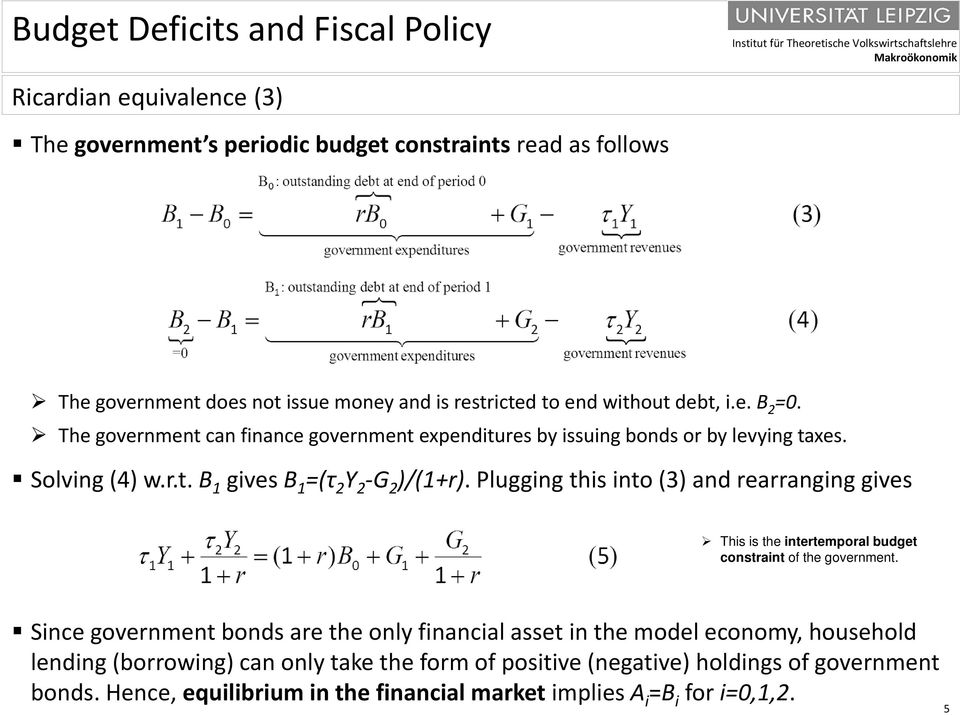 Plugging this into (3) and rearranging gives This is the intertemporal budget constraint of the government.