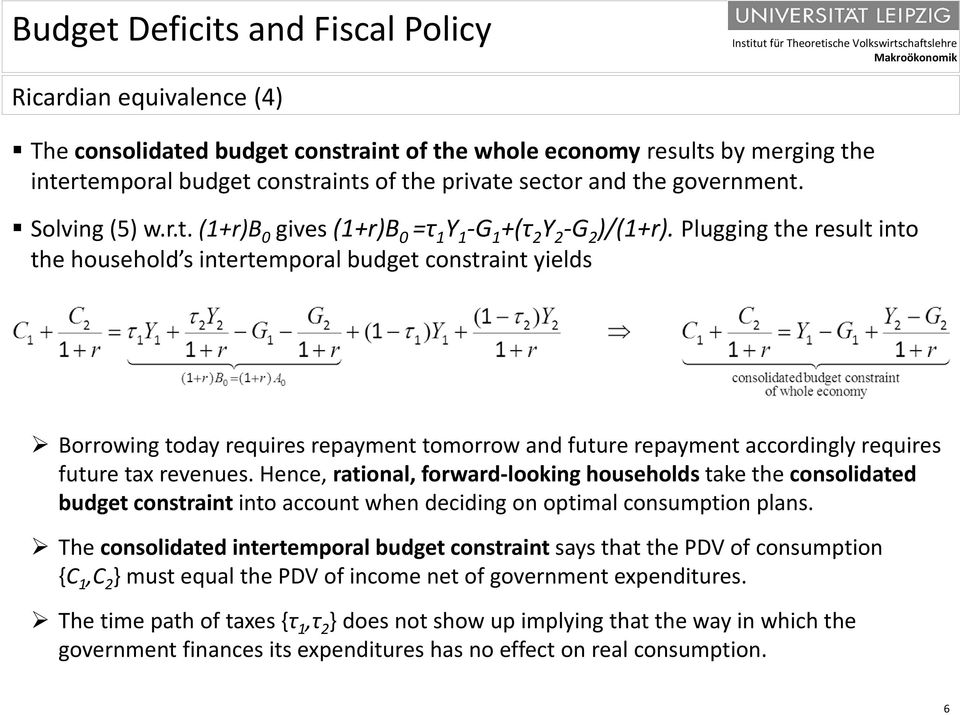 Hence, rational, forward looking households take the consolidated budget constraint into account when deciding on optimal consumption plans.