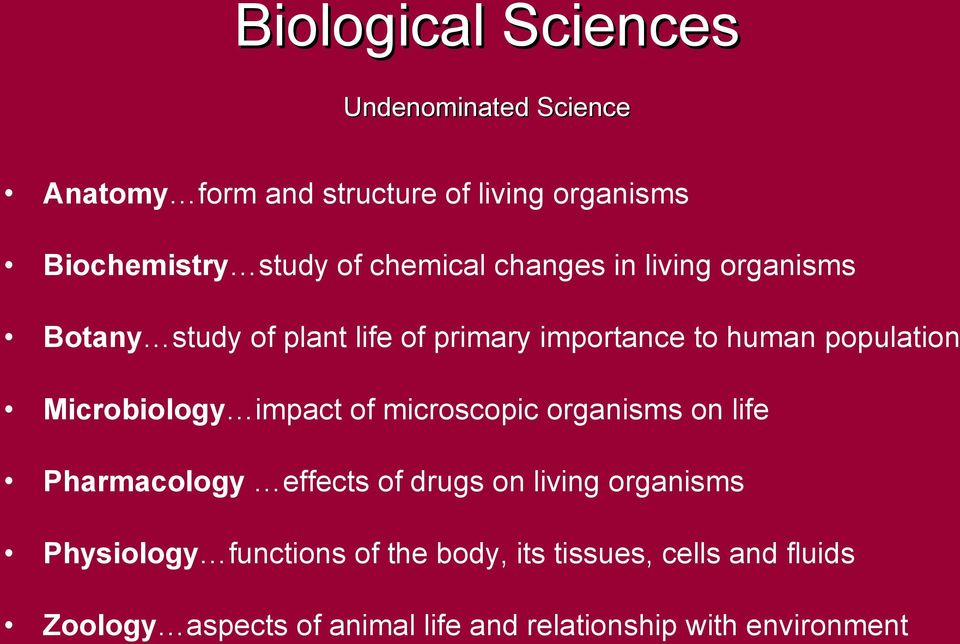 Microbiology impact of microscopic organisms on life Pharmacology effects of drugs on living organisms