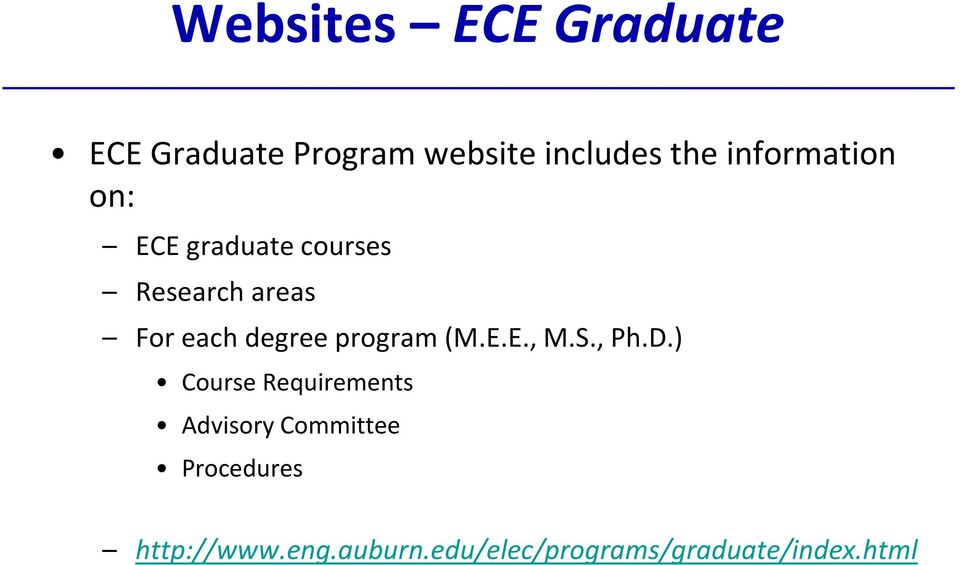 ECE Graduate Student Orientation  Electrical and Computer