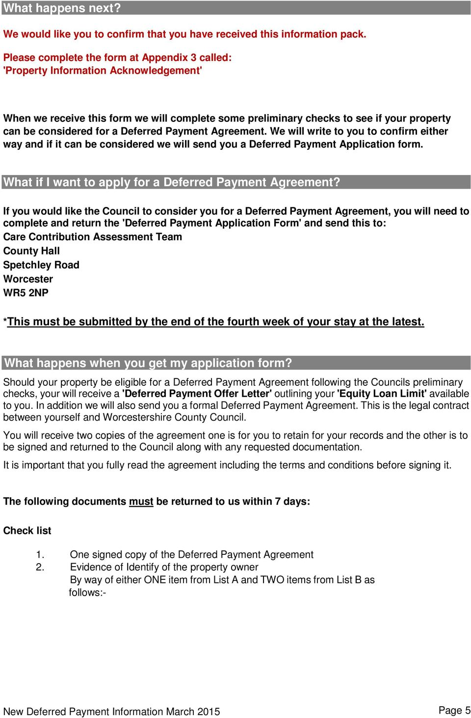 Deferred Payment Agreement Information Pack For Our Service Users