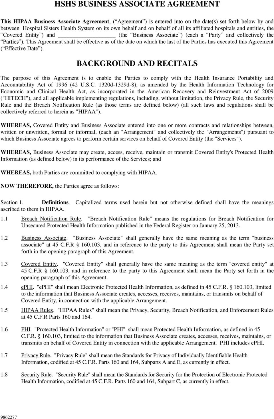 Hshs Business Associate Agreement Background And Recitals Pdf