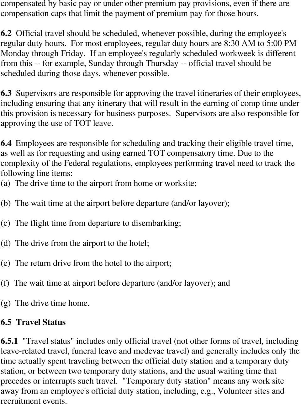 interim policy statement 2 05 compensatory time off for travel pdf