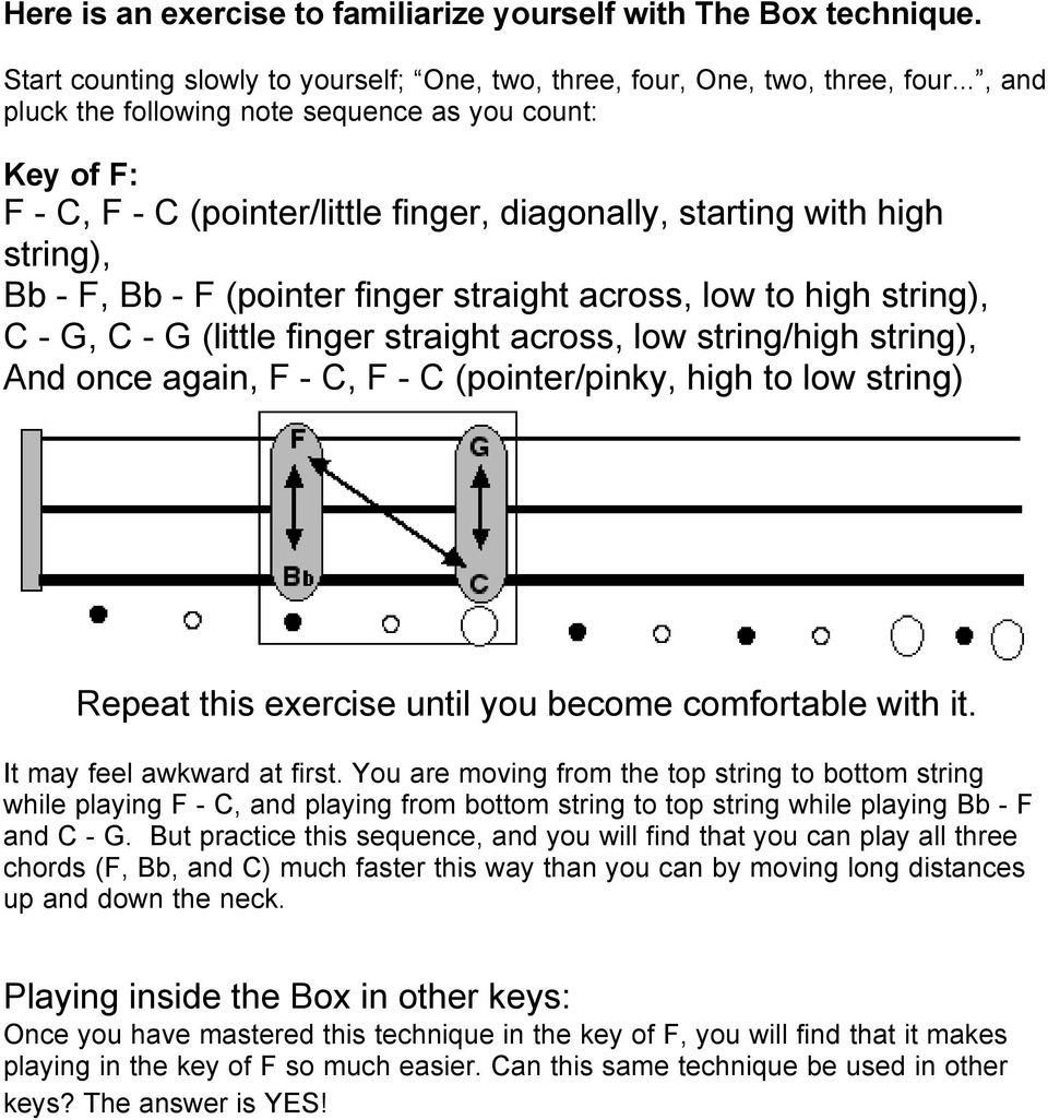 high string), C - G, C - G (little finger straight across, low string/high string), And once again, F - C, F - C (pointer/pinky, high to low string) Repeat this exercise until you become comfortable