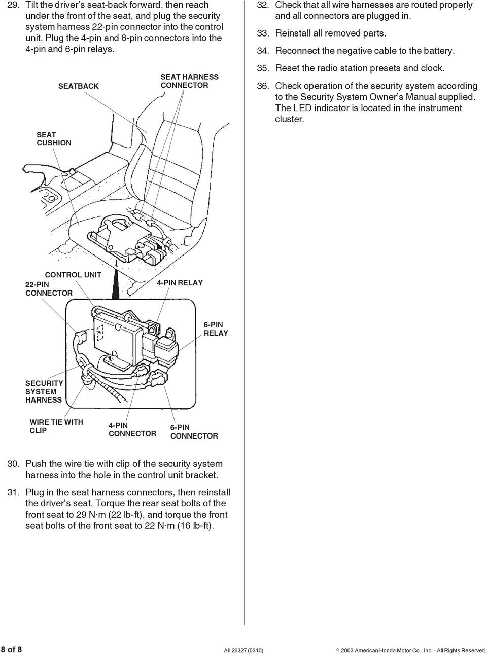 Installation Instructions Pdf 4 Pin Wire Harness Reinstall All Removed Parts 34 Reconnect The Negative Cable To Battery 35
