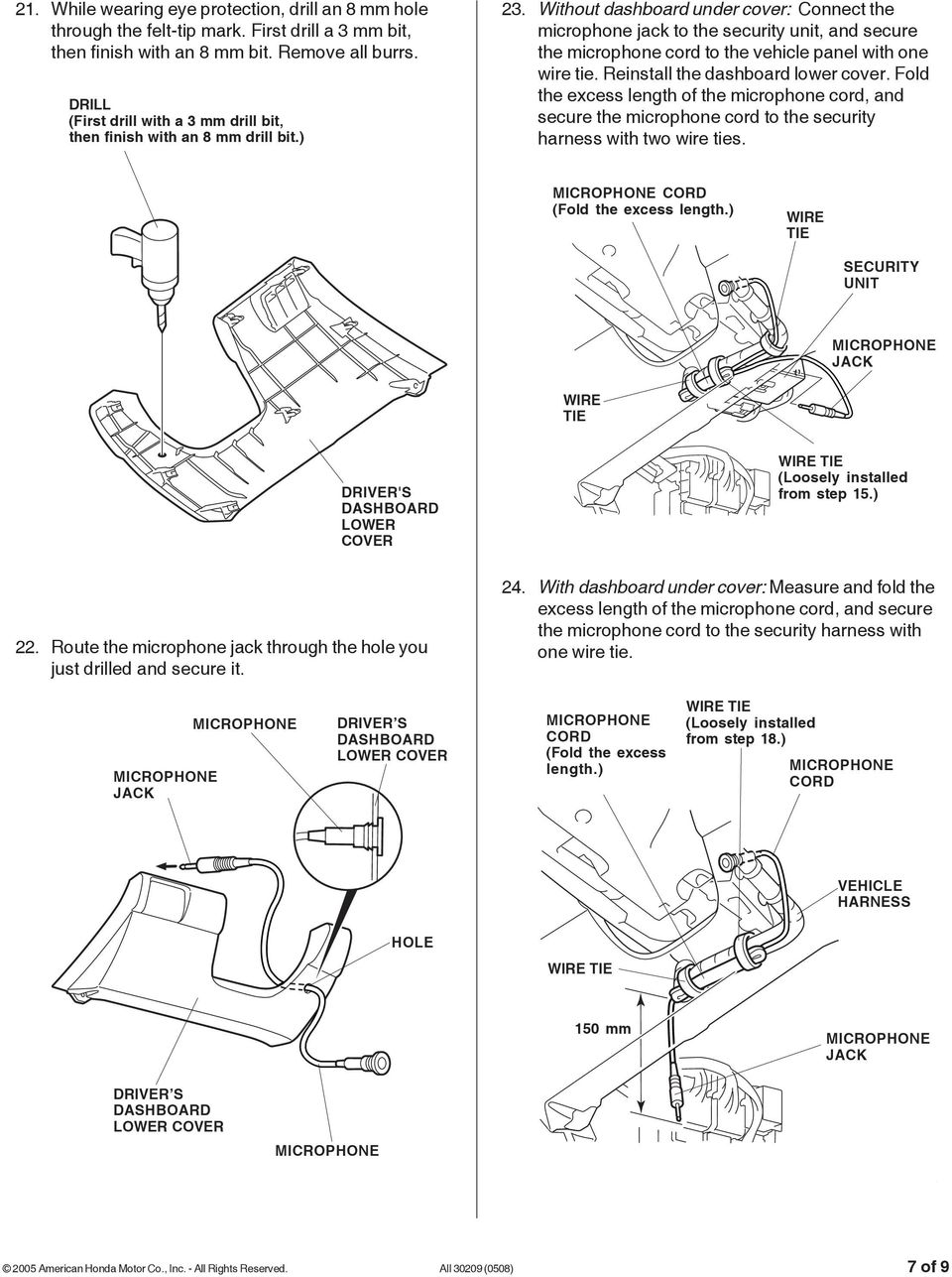 Installation Instructions Pdf 2011 Toyota Tundra Trailer Wiring Schematic Without Dashboard Under Cover Connect The Microphone Jack To Security Unit And Secure