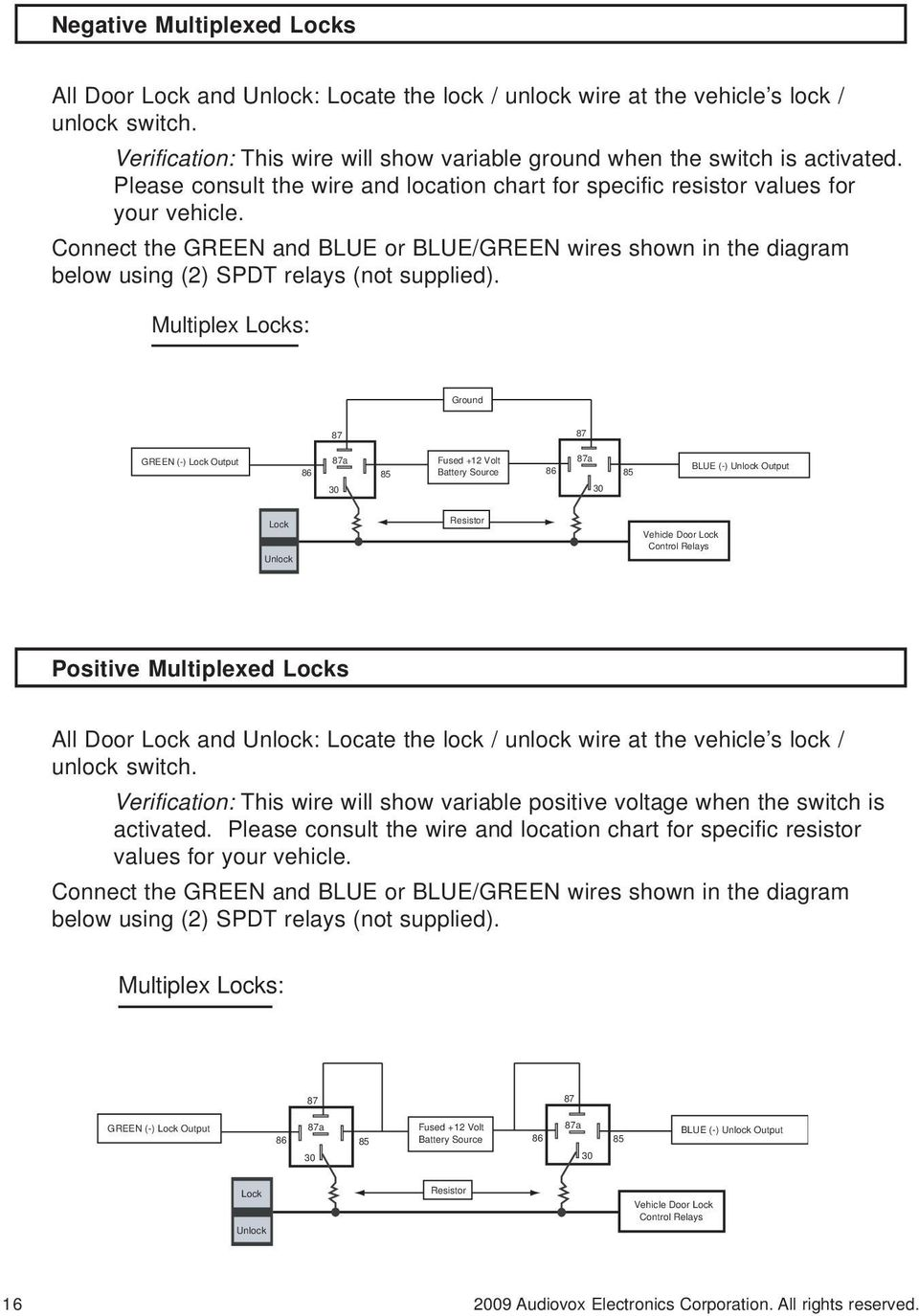 Security And Remote Start Installation Guide For Models Ca 6150 Pdf 1985 Dodge Truck Power Lock Wiring Diagram Connect The Green Blue Or Wires Shown In Below Using