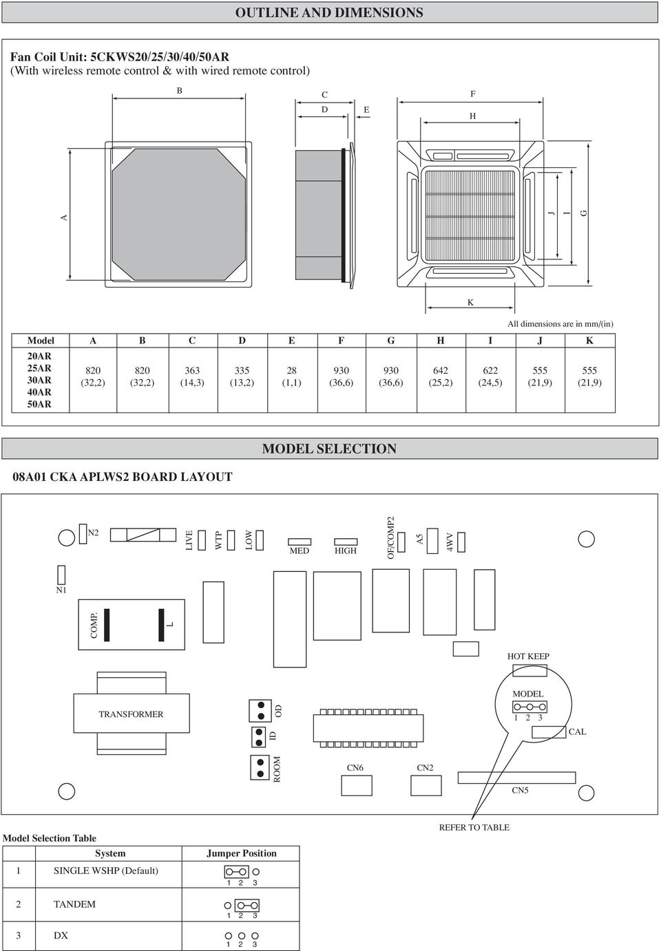 Water Source Heat Pump Ceiling Cassette Split Type Air Conditioner System Wiring Diagram 219 K All Dimensions Are In Mm