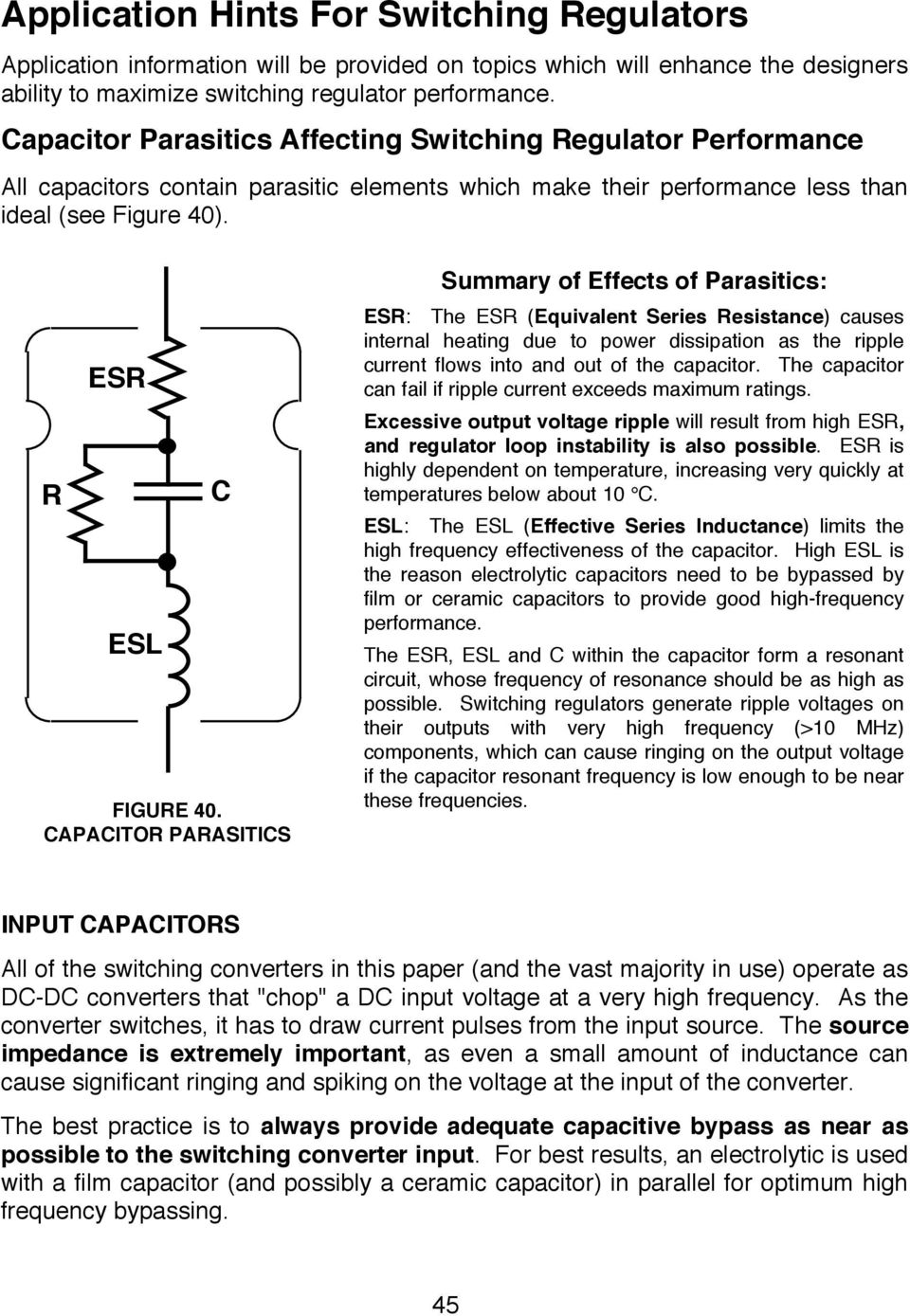 Switching Regulators Pdf 3 Output Isolated Flyback Regulator Circuit Diagram Using Lm2577 Capacitor Parasitics Summary Of Effects Esr The Equivalent Series Resistance