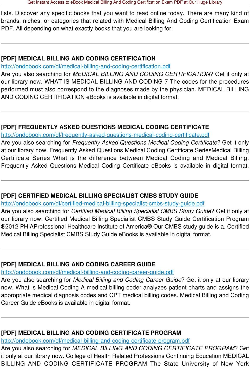 Medical Billing And Coding Certification Study Guide