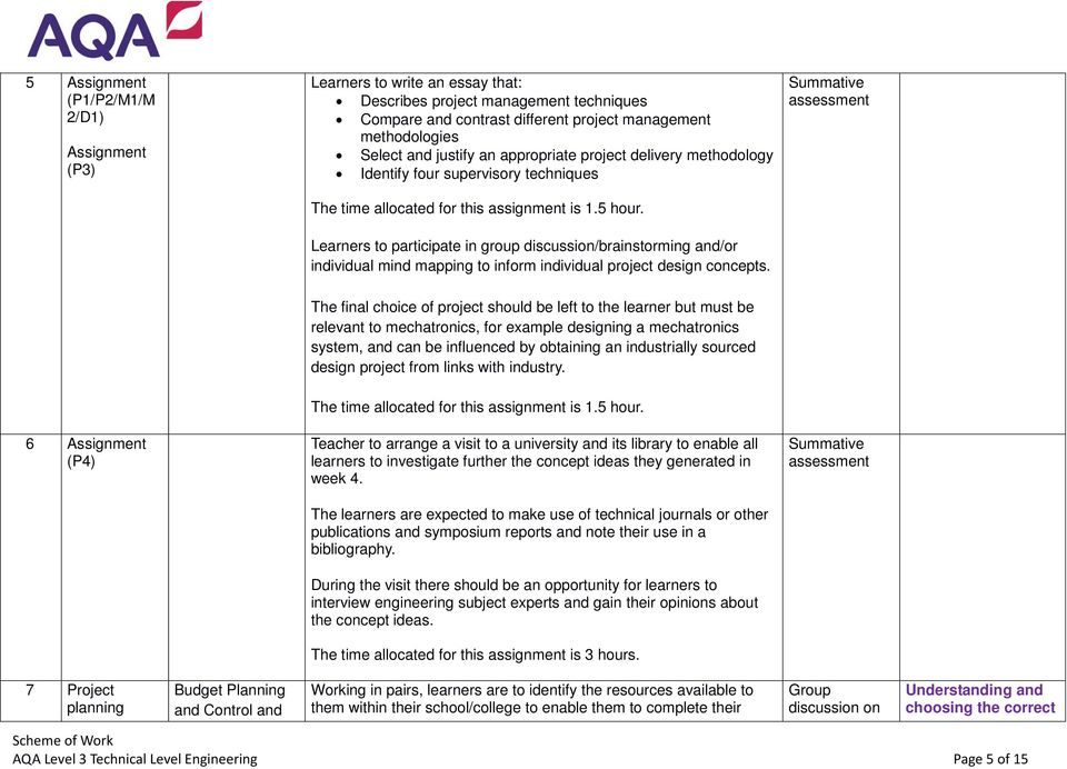 Tech-level in Engineering Scheme of Work AQA Level 3