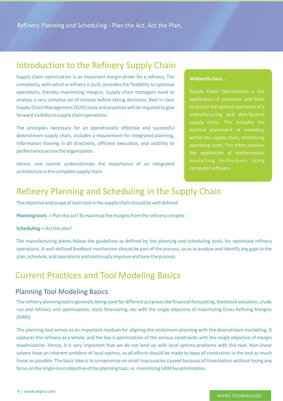 Refinery Planning & Scheduling - Plan the Act  Act the Plan
