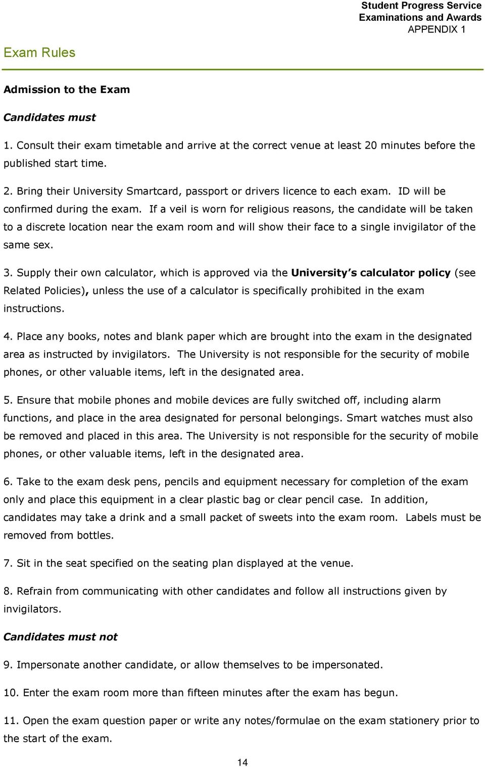 Examination Procedures and Guidelines for Senior