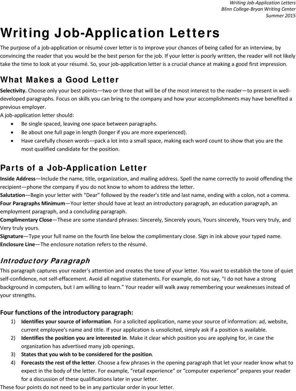 What Makes A Good Letter Parts Of Job Application