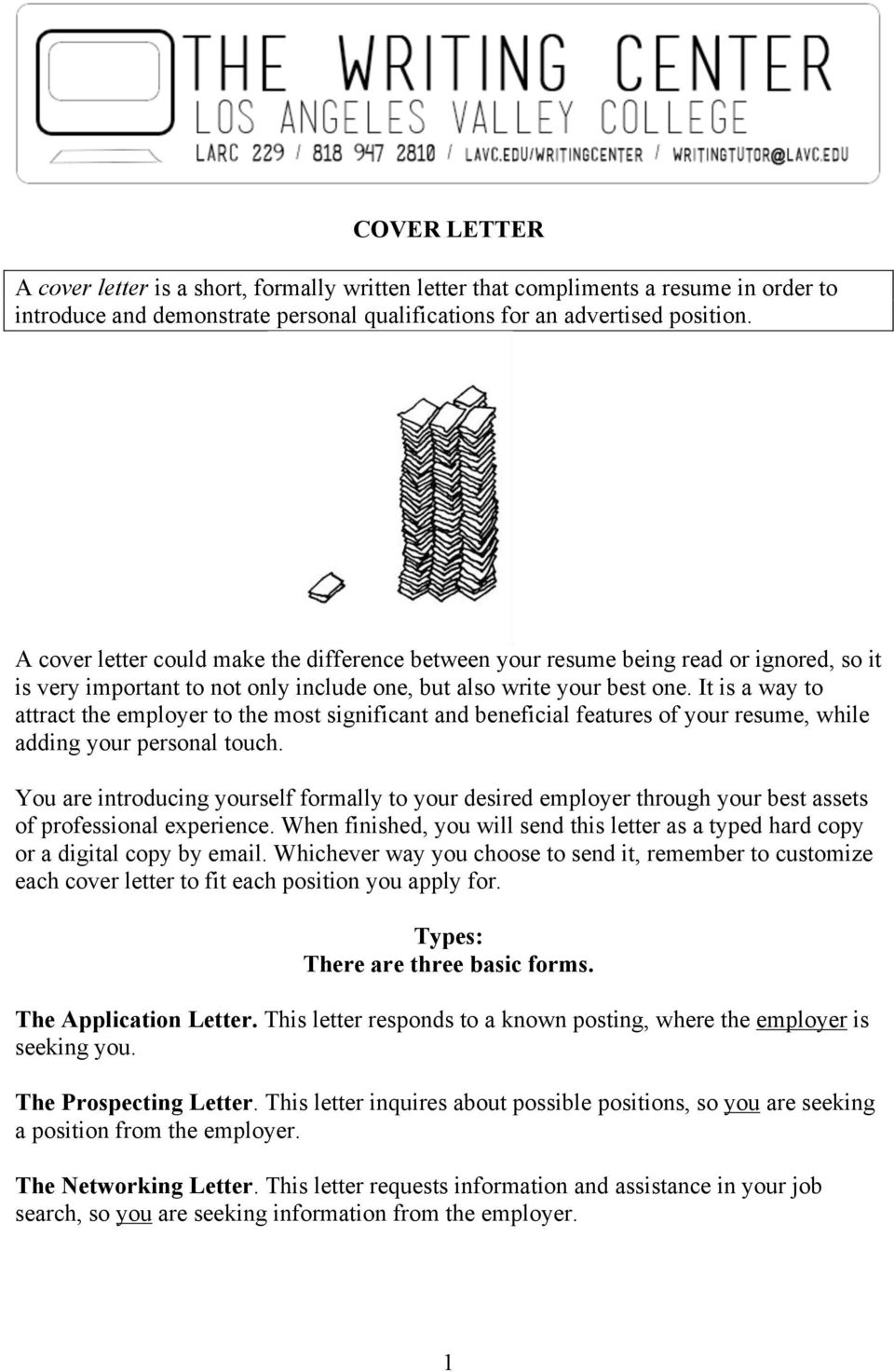 COVER LETTER Types There Are Three Basic Forms The