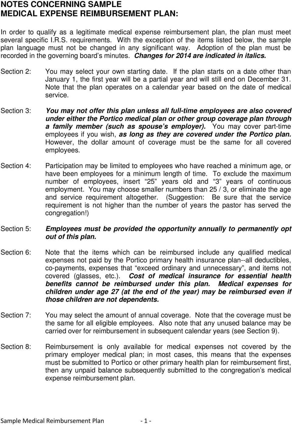 Sample Medical Reimbur T Plan 1 Changes For 2014 Are Indicated In Italics Section  Section 4