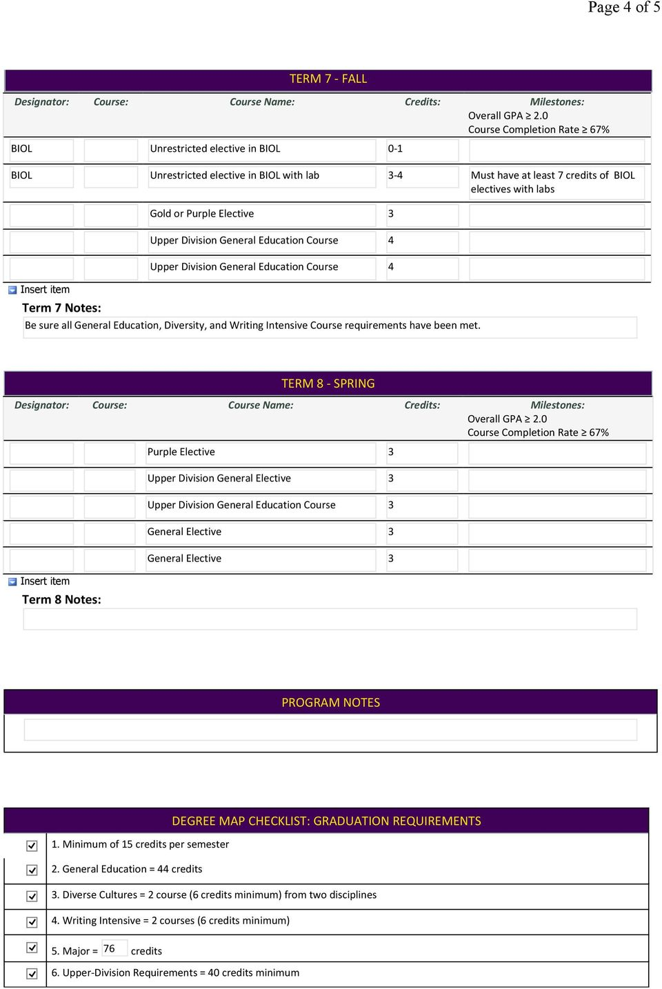 TERM 8 SPRING Term 8 Notes: Purple Elective Upper Division General Elective Upper Division General Education Course General Elective General Elective PROGRAM NOTES DEGREE MAP CHECKLIST: GRADUATION