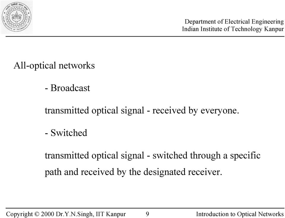 - Switched transmitted optical signal - switched
