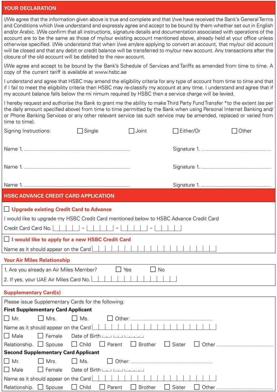 Additional Account Opening Service Application - PDF