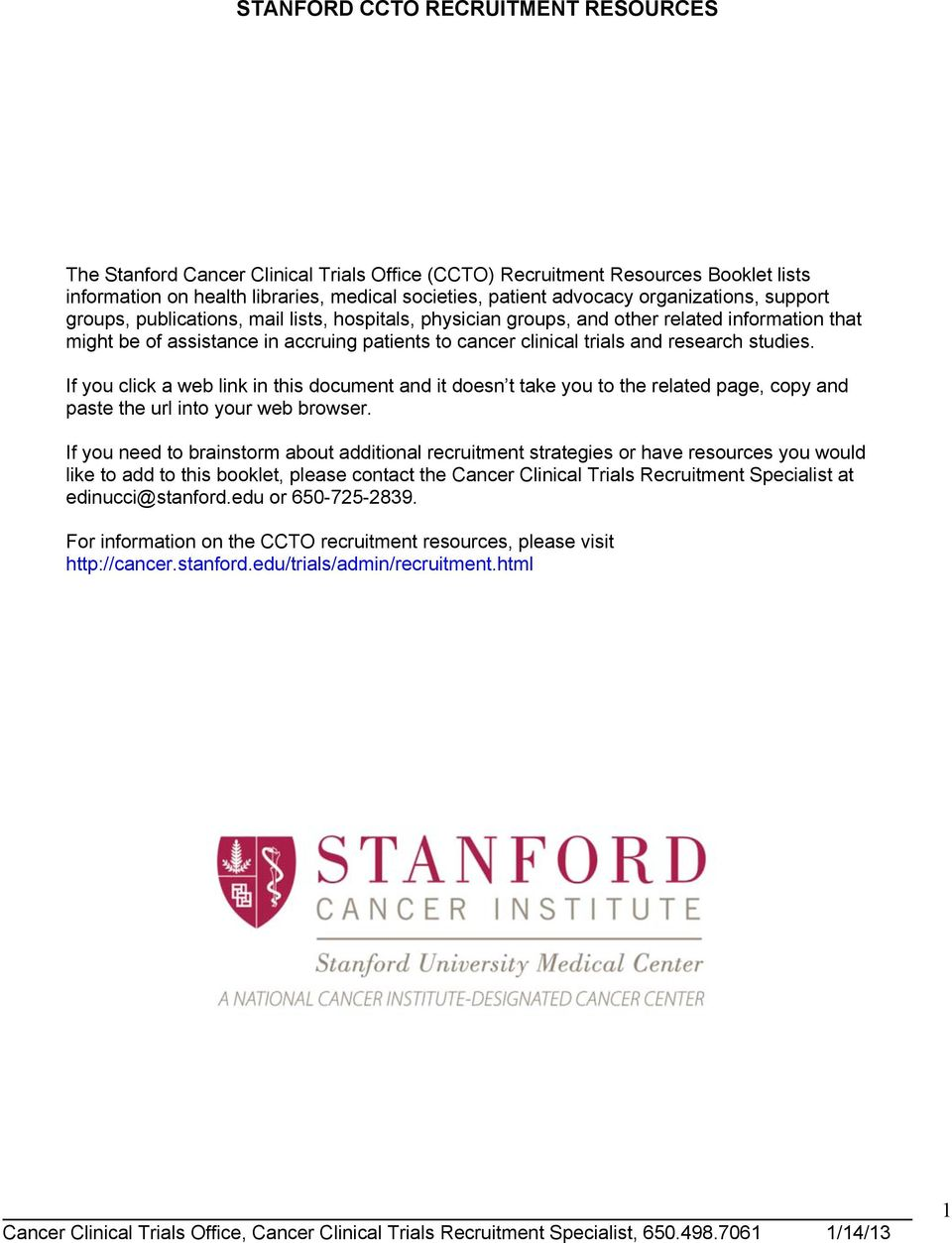 STANFORD CCTO RECRUITMENT RESOURCES - PDF