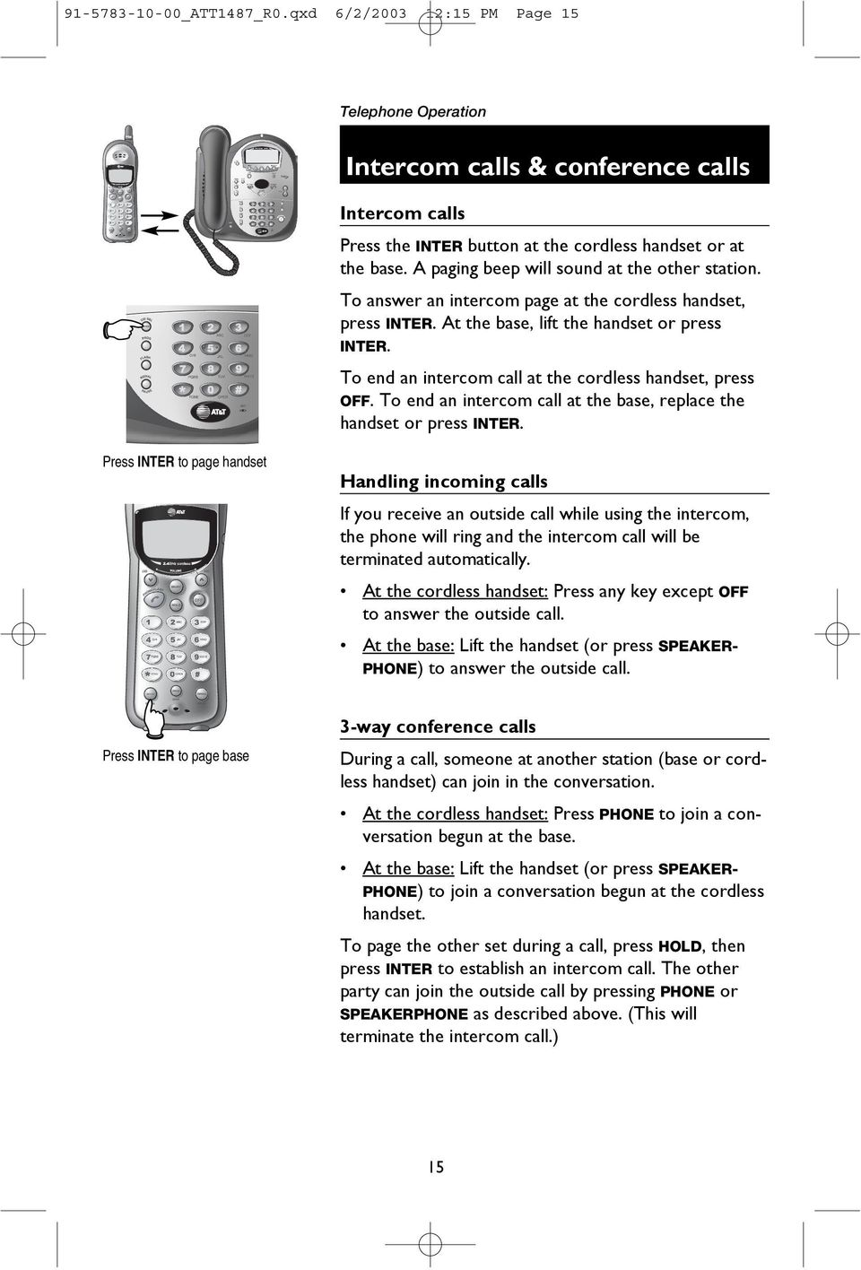 2 4 GHz Corded/Cordless Telephone/Answering System 1487/ PDF