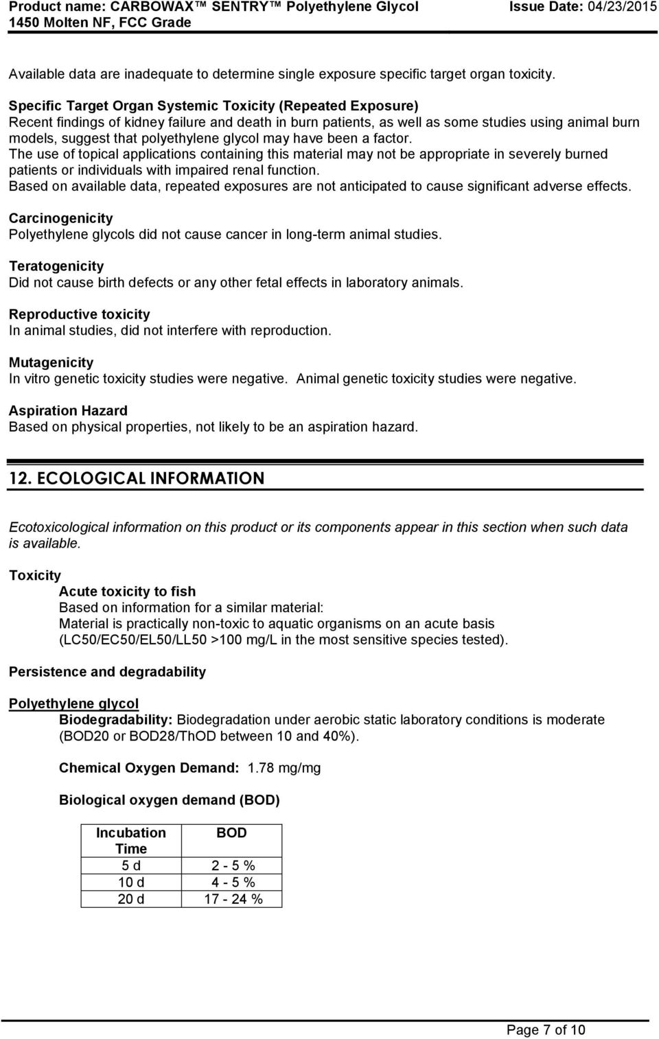 SAFETY DATA SHEET THE DOW CHEMICAL COMPANY - PDF