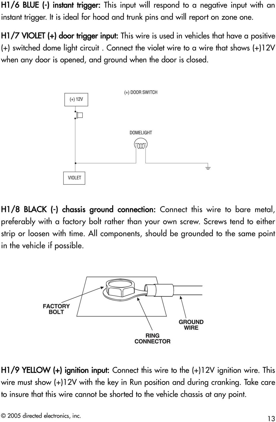 Am1 Security System Installation Guide Pdf 12v Ignition Wiring Diagram Connect The Violet Wire To A That Shows When Any Door