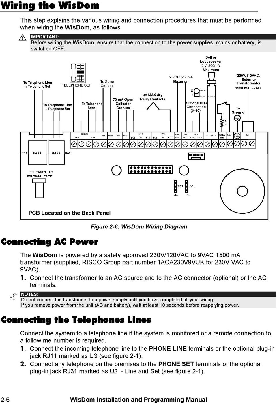 Installation And Programming Manual Pdf Freewave Wiring Diagram Connecting Ac Power Figure 2 6 Wisdom The Is Powered By