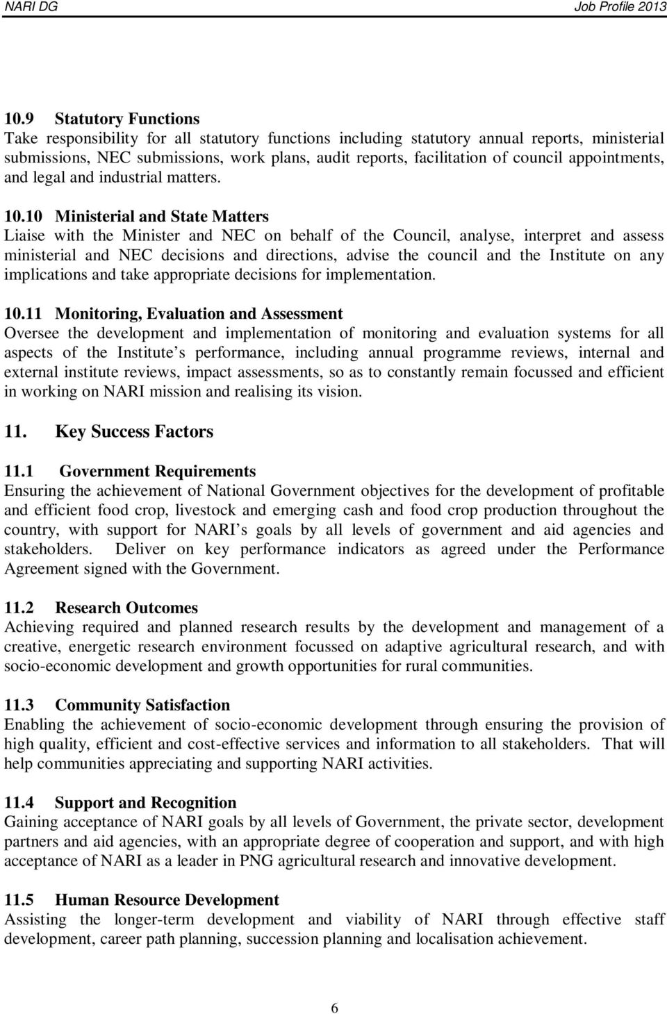 POSITION DESCRIPTION (JOB PROFILE) DIRECTOR-GENERAL PNG