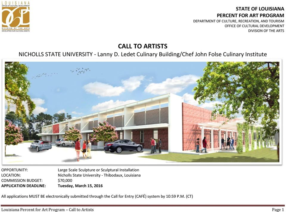 CALL TO ARTISTS NICHOLLS STATE UNIVERSITY - Lanny D  Ledet
