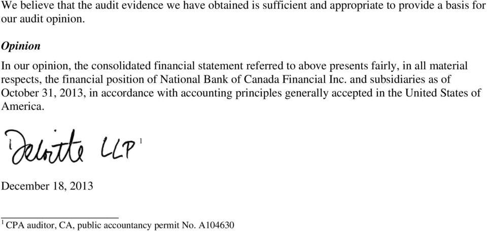 financial position of National Bank of Canada Financial Inc.