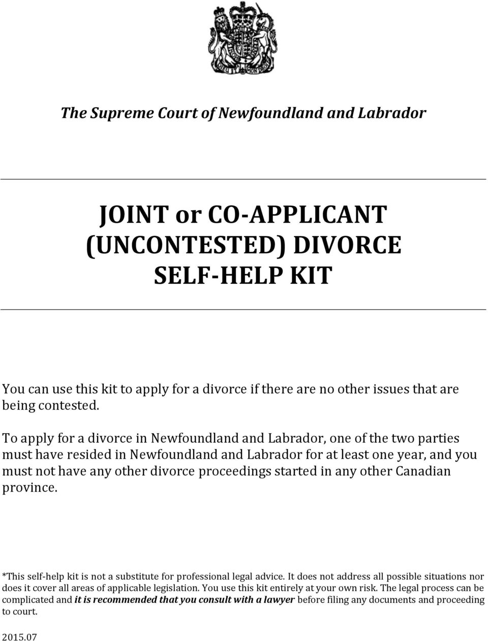 Joint or co applicant uncontested divorce self help kit pdf to apply for a divorce in newfoundland and labrador one of the two parties must solutioingenieria Choice Image